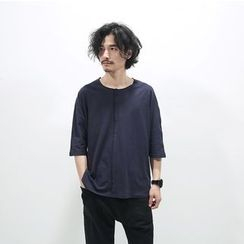 Chuoku - Plain Panel Short-Sleeve Top