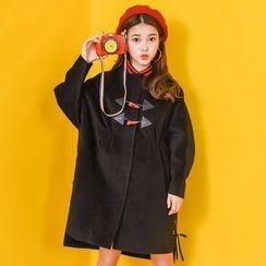 Moriville - Lace Up Side Long Woolen Jacket