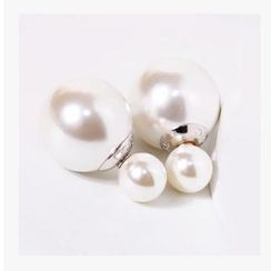 Nanazi Jewelry - Faux-pearl Titanium Earrings