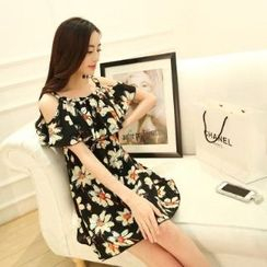 Amella - Flower-Print Chiffon Dress