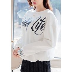 REDOPIN - Round-Neck Lettering Pullover