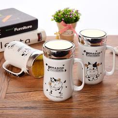 四季美 - 卡通印花陶瓷杯連杯蓋