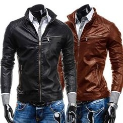 Hansel - Faux Leather Biker Jacket