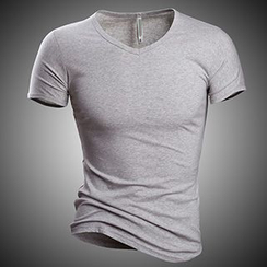 Fireon - Plain V-Neck Short-Sleeve T-Shirt