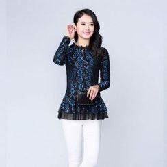 Romantica - Long-Sleeve Ruffle Lace Top