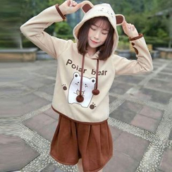 Angel Love - Set: Bear Print Hoodie + A-Line Skirt