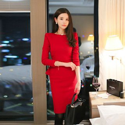 Eleganza - Long Sleeve Peplum Dress