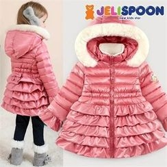 JELISPOON - Girls Faux-Fur Hood Frilled Padded Coat