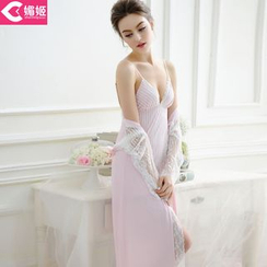 Charming Lover - Set: Lace-Trim Robe + Nightdress