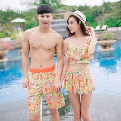 Roseate - Couple Matching Set: Floral Swim Top + Swim Skirt + Swim Bottom / Floral Swim Shorts
