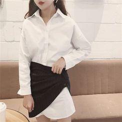Bloombloom - Set: Loose-fit Long-Sleeve Shirtdress + Skirt