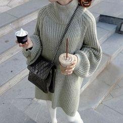 DAZZ - Mock Neck Chunky Knit Long Sweater