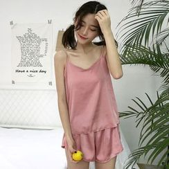 Miss Kekeli - Pajama Set: Plain Camisole Top + Shorts