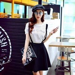 Dabuwawa - Set: Striped T-Shirt + Suspender Skirt