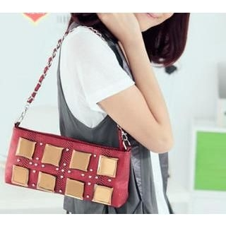 Love Bags - Metallic Plate Chain Strap Shoulder Bag