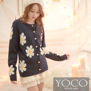 Tokyo Fashion - Round-Neck Floral Print Cardigan