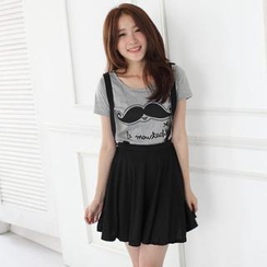 Mini Jule - Set: Short-Sleeve Printed T-Shirt + Suspender Skirt