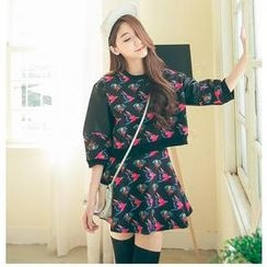 Hanako Shiratori - Set: Bird Print 3/4-Sleeve Top + A-Line Skirt