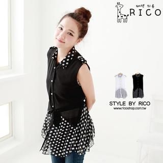 rico - Sleeveless Polka-Dot-Panel Chiffon Shirt
