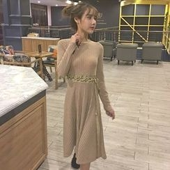 Jolly Club - Long-Sleeve Lace-Up Knit Dress