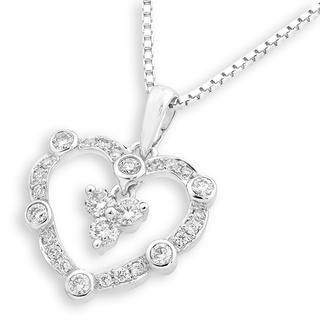 MaBelle - 18K White Gold Vintage Style Diamond Accents Heart Dangle Pendant Necklace (0.31 cttw) (FREE 925 Silver Box Chain, 16')