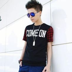 Free Shop - Check-Sleeve Lettering T-Shirt