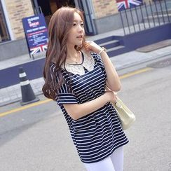 CLICK - Short-Sleeve Laced Collar Stripe Top