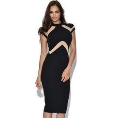 Dear Lover - Short-Sleeve Sheath Midi Dress