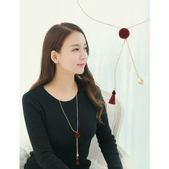 soo n soo - Pom Pom Long Necklace