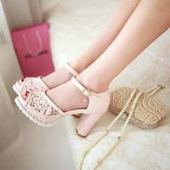 Pastel Pairs - Lace Heeled Sandals