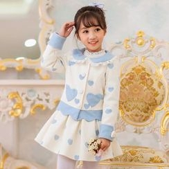 Candy Rain - Kids Heart Print Collared Coat