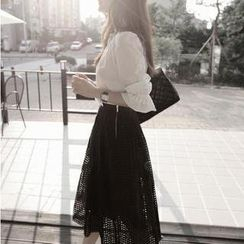 Flower Creek - Set: Puff-Sleeve Blouse + Mesh Midi Skirt