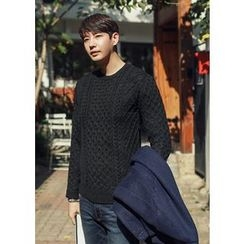 GERIO - Round-Neck Cable-Knit Sweater