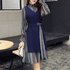 SEYLOS - Set: Patterned Long-Sleeve Chiffon Dress + Slit-Side V-Neck Vest