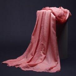 羚羊早安 - 優雅蕾絲羊毛高支數粉色圍巾