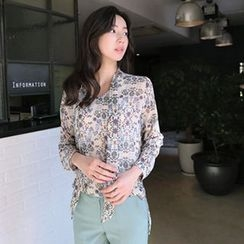 Hello sweety - Tie-Neck Floral Print Top