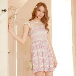 Tokyo Fashion - Cap-Sleeve Tulle-Panel Lace Dress