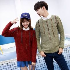 Je T'aime - Couple Matching Melange Ribbed Knit Top