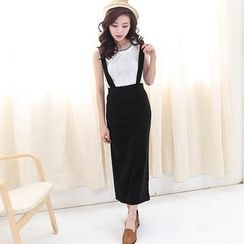Lucky Leaf - Slit-Back Suspenders Maxi Skirt