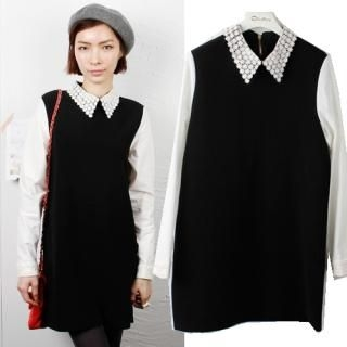 olivethey - Lace-Collar Contrast-Sleeve Dress