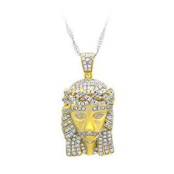 BELEC - K Gold Plated 925 Sterling Silver Portrait Pendant with White Cubic Zircon and Necklace