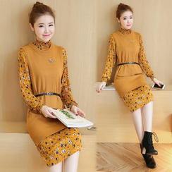 Romantica - Set: Long-Sleeve Printed Dress + Knit Long Vest