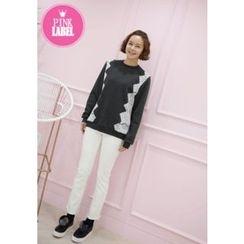 Lemite - Brushed-Fleece Lace-Trim Sweatshirt