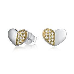 MBLife.com - Left Right Accessory - 925 Silver Heart with Yellow CZ Stud Earrings