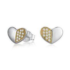 MBLife.com - 925 純銀心形設計黃色CZ耳環