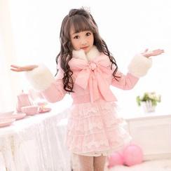 糖果雨 - 童装毛毛边夹棉大衣裙