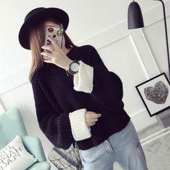 菲兒 - 配色袖口粗针织毛衣