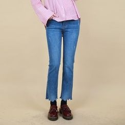 Vintage Vender - Cutout-Hem Boot-Cut Jeans