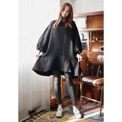 GOROKE - Balloon-Sleeve Ruffle-Hem Pullover Dress