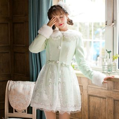 Candy Rain - Furry Collar Lace Panel Coatdress